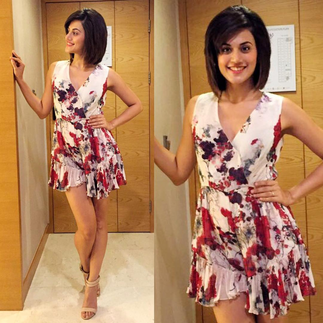 Tapsee Pannu in a floral printed dress from Varun Bahl ...
