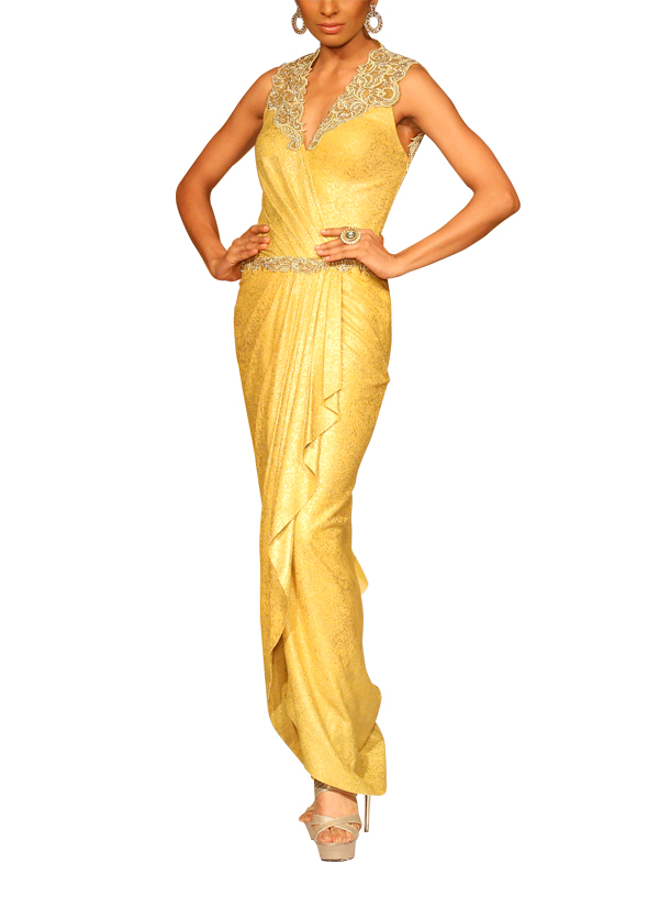 Mandira Wirk | Yellow Tulip Gown | Shop Gowns at strandofsilk.com