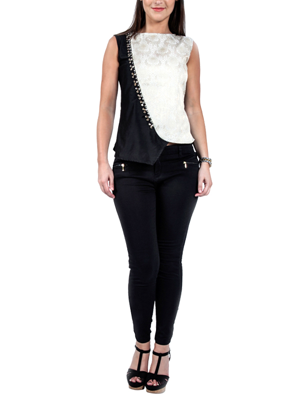 Diagonally Affixed Bejeweled Top