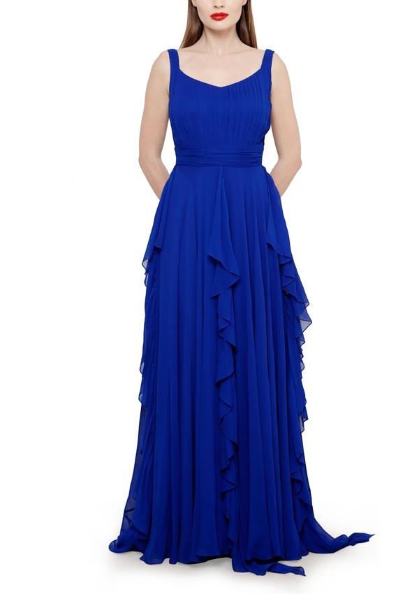 Swatee Singh Striking Royal Blue Gown Shop Gowns At Strandofsilkcom