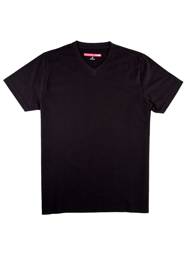 Fighting Fame Plain Black Crew Neck T Shirt Shop T