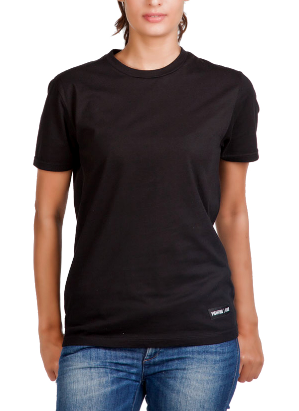 Fighting Fame | Basic Black Crew Neck T-Shirt at strandofsilk.com