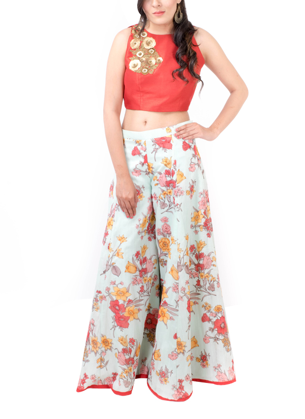 Kriti J Floral Print Sharara with Crop Top Shop Lehengas at