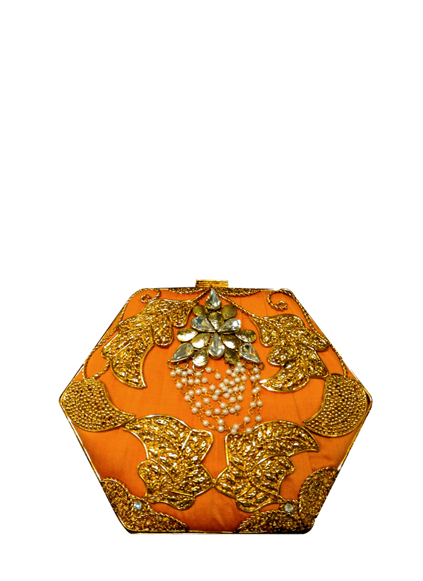 Meera mahadevia gold leaf embroidered clutch shop bags