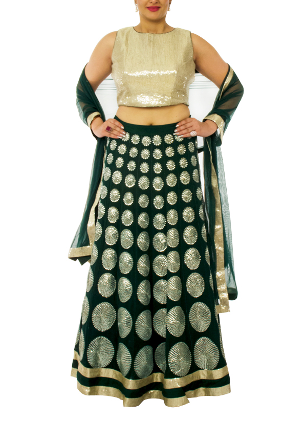 821d23a925 Indian Fashion Designers - Neehara - Contemporary Indian Designer -  Sequinned Crop Top Set - NH