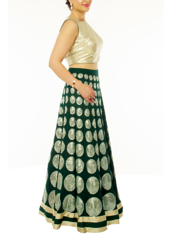 c17cf22d88 ... Indian Fashion Designers - Neehara - Contemporary Indian Designer -  Sequinned Crop Top Set - NH ...