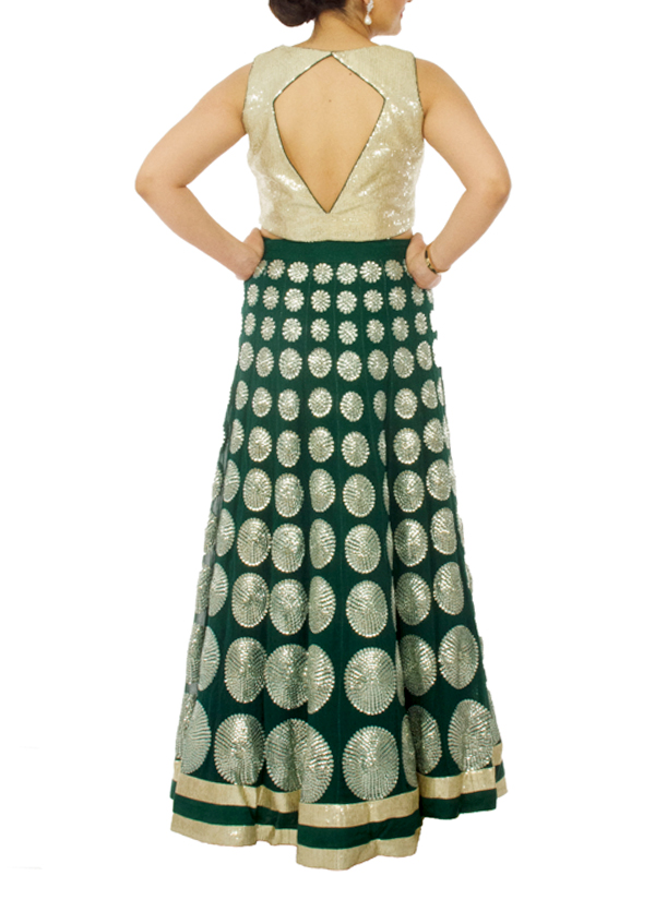 63990ad0ff ... Indian Fashion Designers - Neehara - Contemporary Indian Designer -  Sequinned Crop Top Set - NH