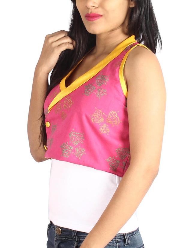 Pulpypapaya pink khadi bolero jacket shop jackets at for Designer bolero