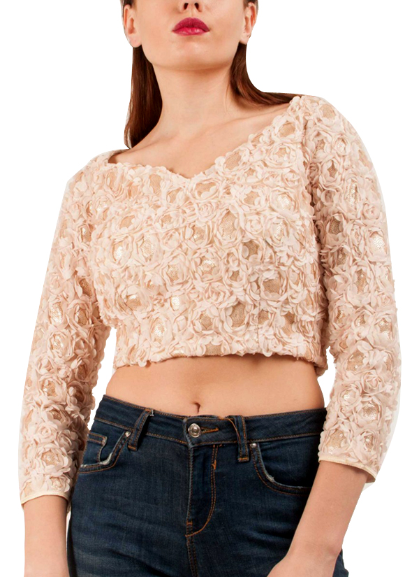 e3284dc99e212d Riddhi And Revika Gold Sequined Crop Top Shop Tops At