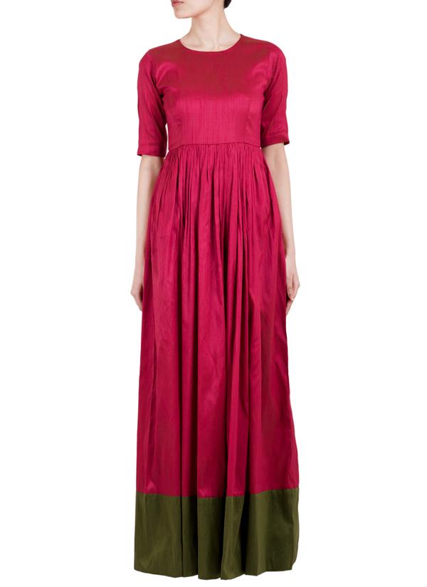 trueBrowns | Pink Raw Silk Straight Dress | Shop Dresses at ...