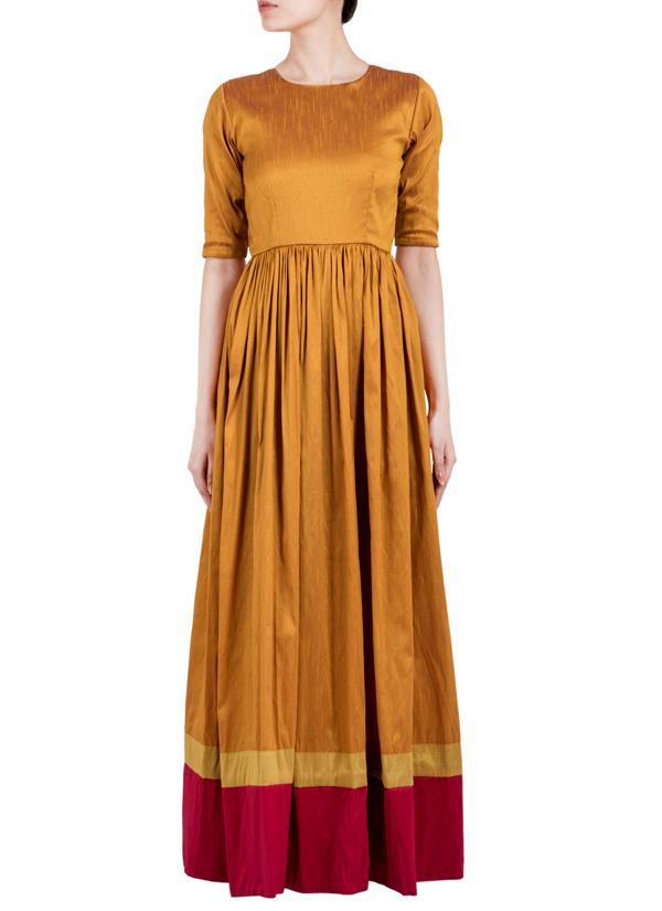 Truebrowns Golden Gathered Straight Dress Shop Dresses