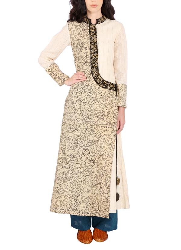 b20c2be4c64 Indian Fashion Designers - Yosshita   Neha - Contemporary Indian Designer -  Beige Hand Painted Silk