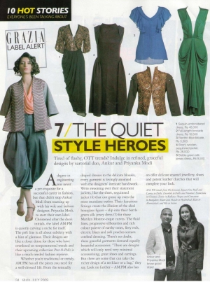 Styles by Indian Designer Label AM PM in Grazia July 2009