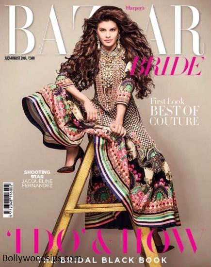 Jacqueline Fernandez on the Cover of Harpers Bazaar - July 2014