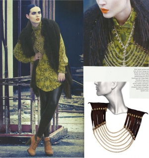 Brown Leather Necklace by Sannam Chopra in Verve - November 2012