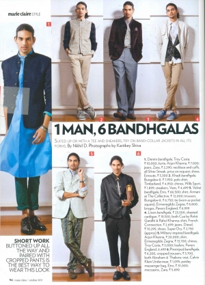 Abraham and Thakore Bandhgala in Marie Claire, October 2011