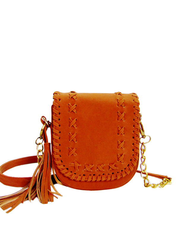 da094fe7d Indian Fashion Designers - Tresclassy - Contemporary Indian Designer - Tan  Fringe Sling Bag - TC