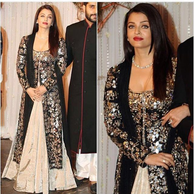 aishwarya rai in an embroidered black and beige outfit