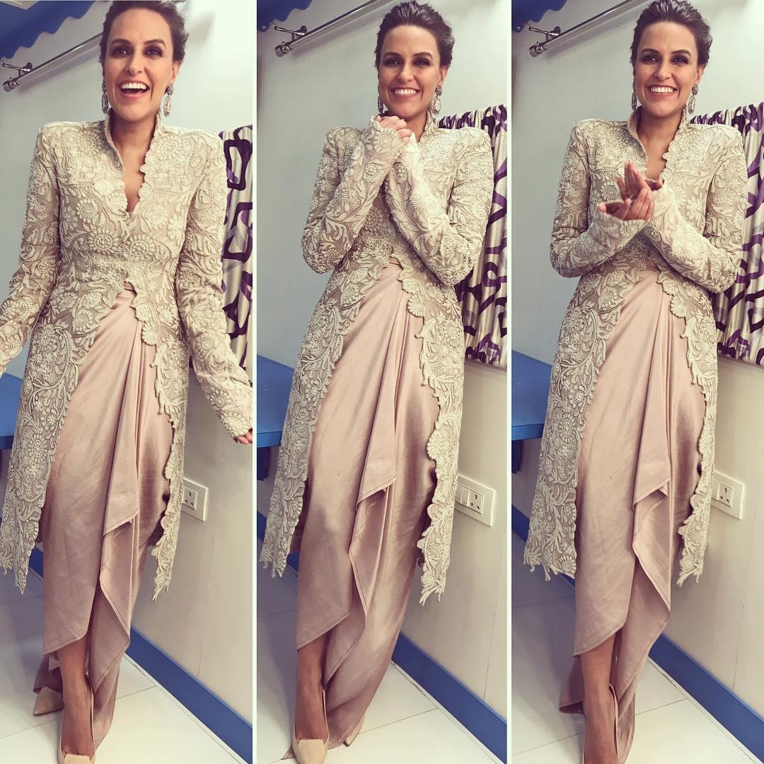 Neha Dhupia in Anamika Khanna | Anamika Khanna Celebs Wearing