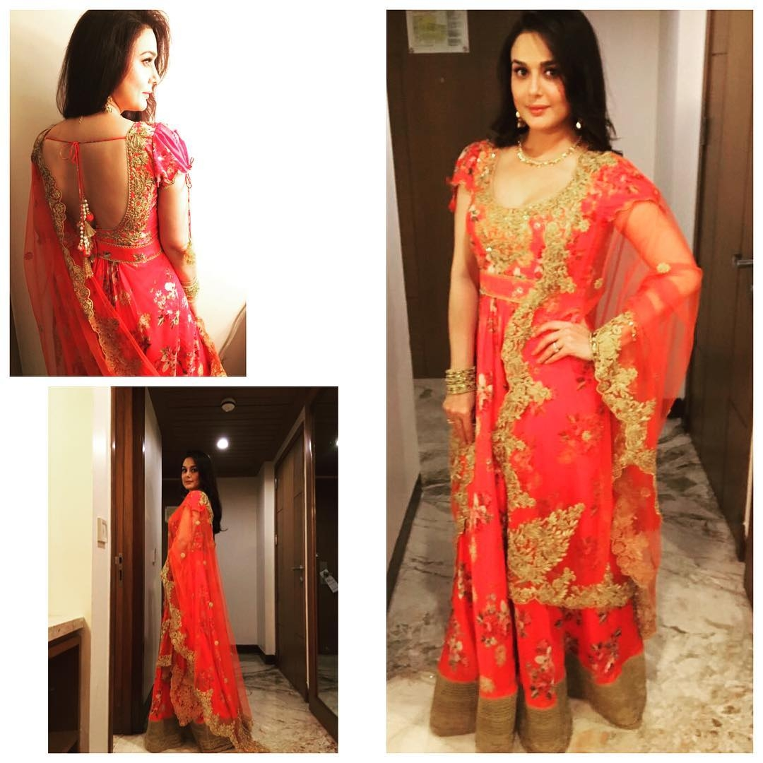 Preity Zinta Wears Gorgeous Red Dress Adorned With Gold