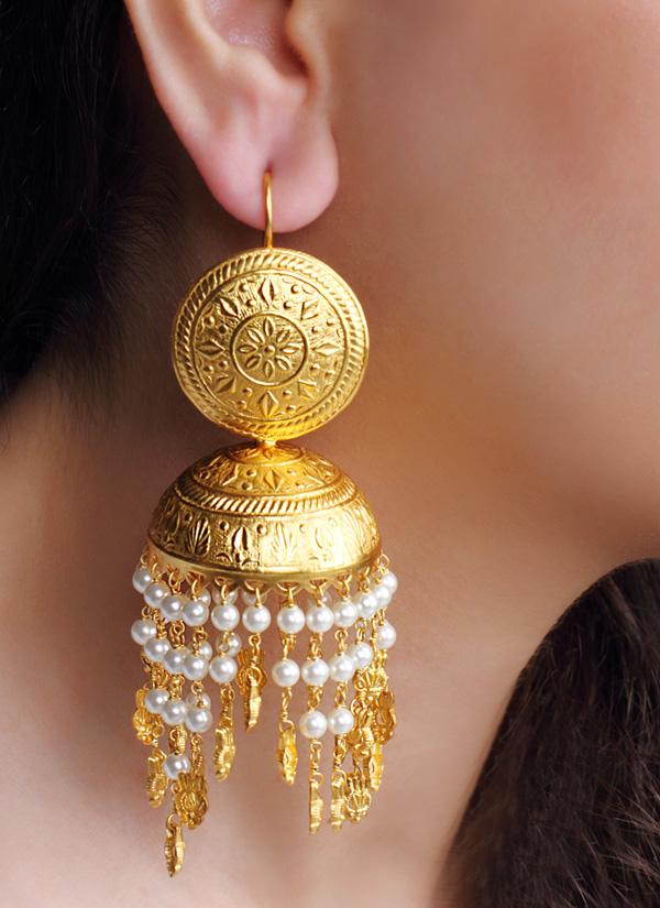 Urban Dhani | Engraved Pearl Jhumkas | Shop Earrings at ...