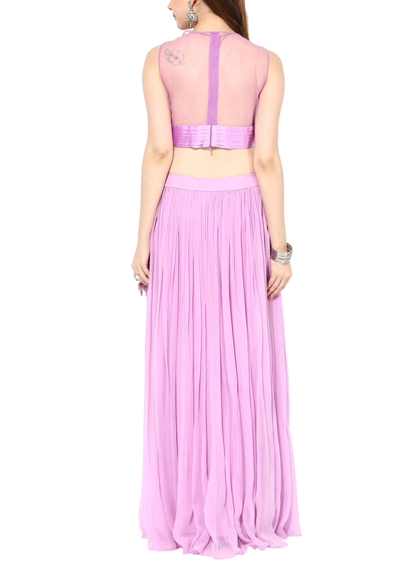 Indian Fashion Designers   House Of Trove   Contemporary Indian Designer    Tops   HT. House of Trove   Pearl Orchid Crop Top Set at strandofsilk com