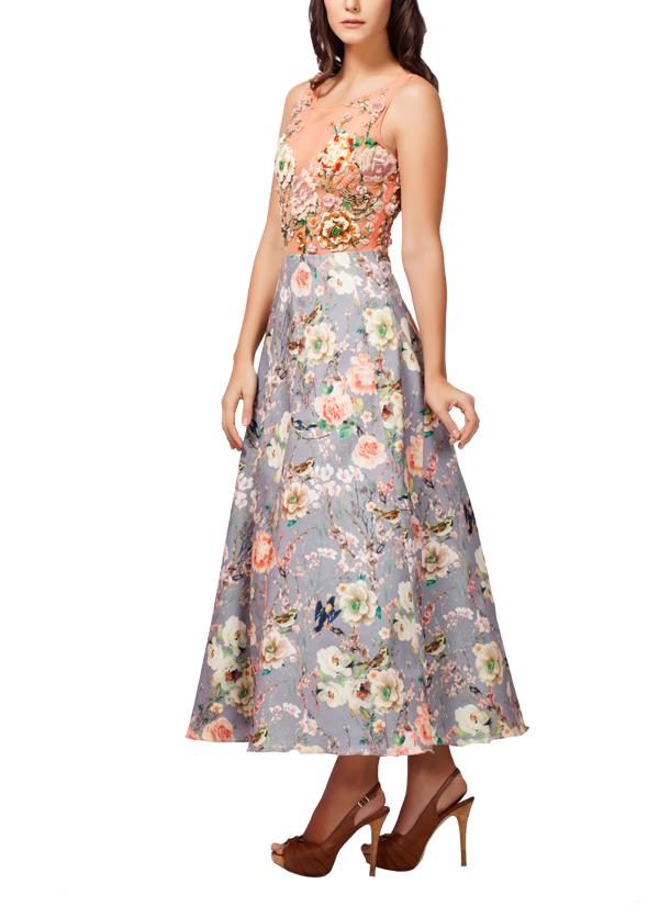 Kashmiraa | Printed Floral Dress | Shop Dresses at strandofsilk.com