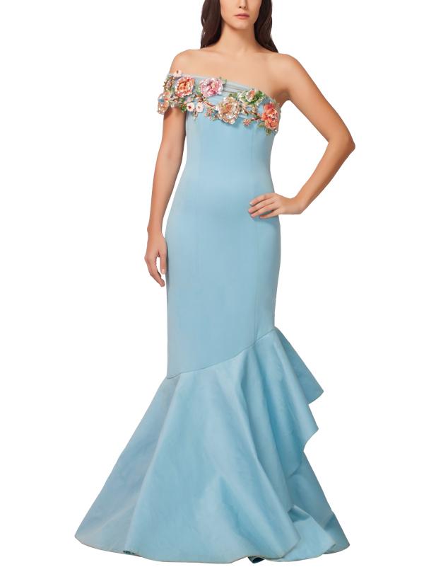 Powder Blue Floret Gown