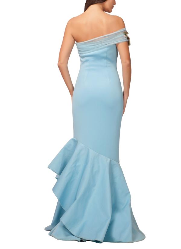 Kashmiraa | Powder Blue Floret Gown | Shop Gowns at strandofsilk.com