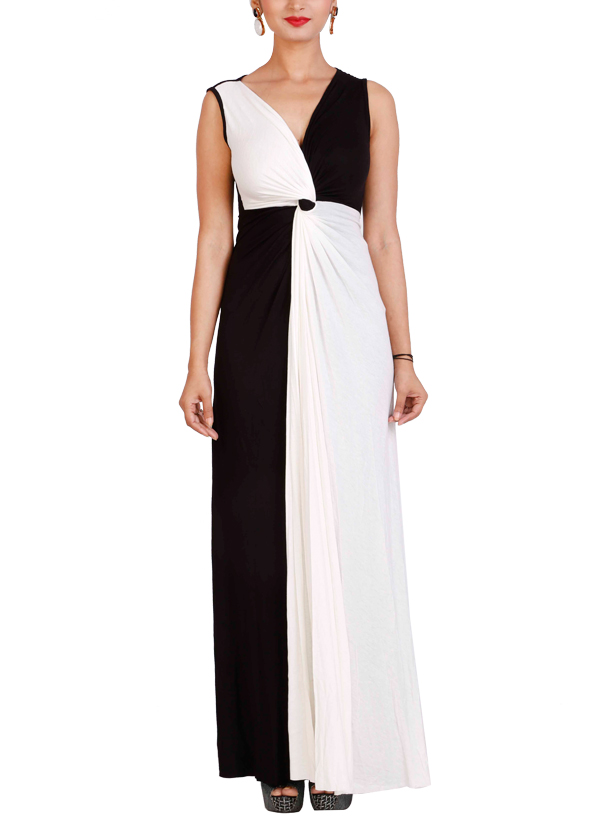 Neha Gursahani | Black and White Draped Gown | Shop Gowns at ...