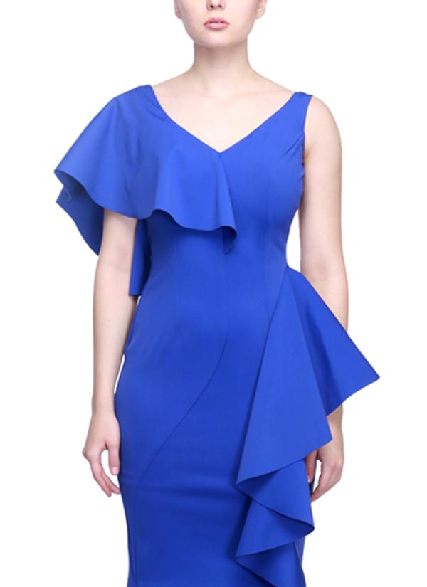 siddartha tytler  blue latex cascade dress  shop dresses