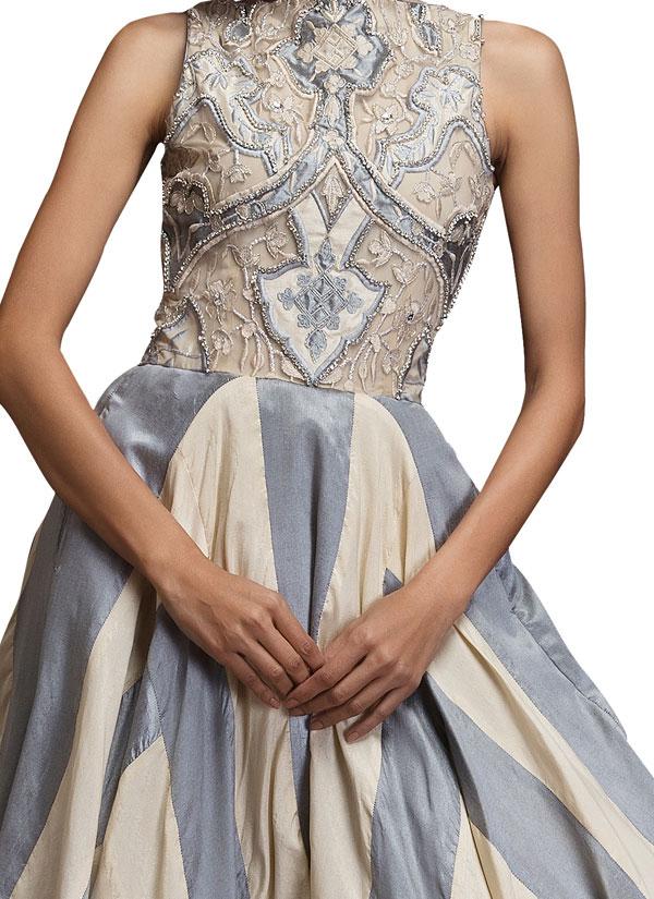 siddartha tytler  applique detailed striped ball gown