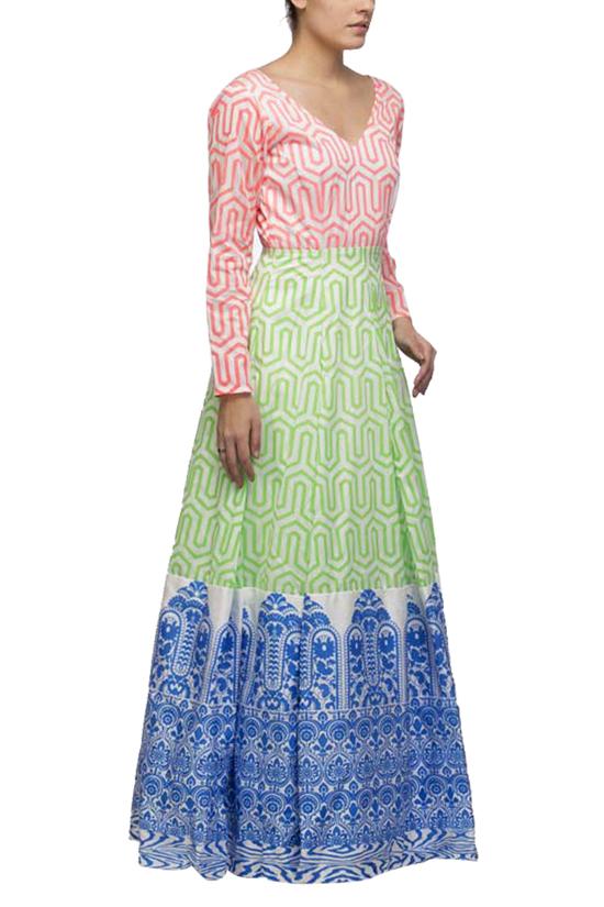 Indian print maxi dress
