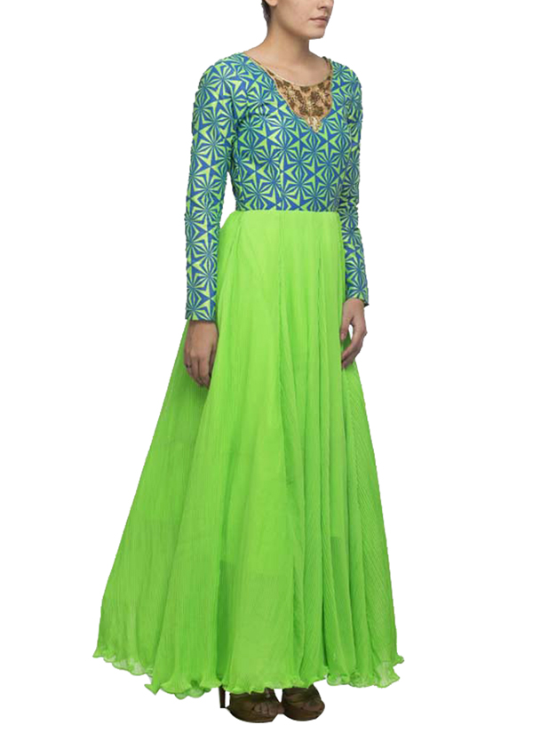 Vijay Balhara - Neon Green Maxi Dress at strandofsilk.com