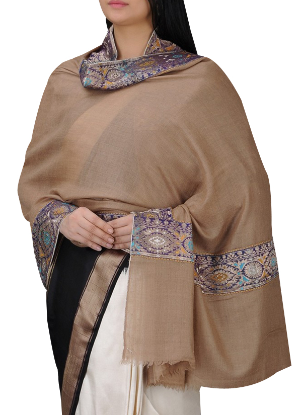 ad7492e87bb00 Indian Fashion Designers - Absolute Pashmina - Contemporary Indian Designer  - Beige Cashmere Shawl - ABP