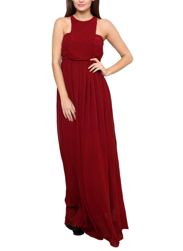 Aida | Halter Style Maroon Gown | Shop Gowns at strandofsilk.com