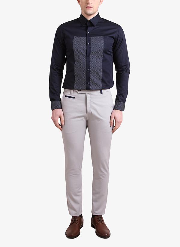 Alvin Kelly | Navy Blue Printed Slim Fit Shirt | Shop Shirts at ...