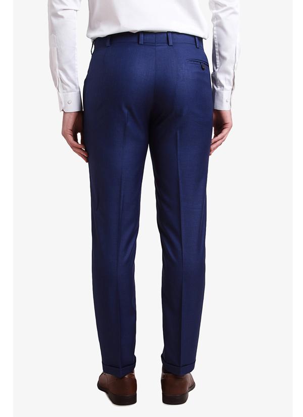 Alvin Kelly Navy Blue Solid Slim Fit Formal Trouser