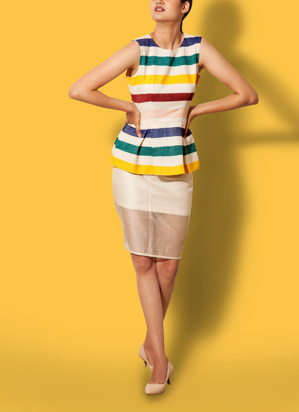 66a1bbad13f24 Indian Fashion Designers - Anand   Tausif - Contemporary Indian Designer -  Khadi Peplum Top Set