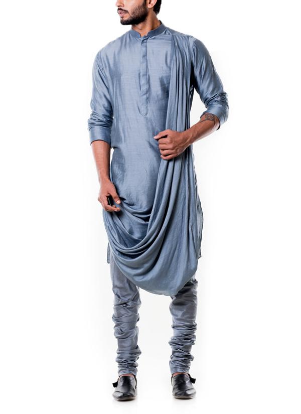 Anju Agarwal Grey Cowl Kurta Set Shop Kurtas At
