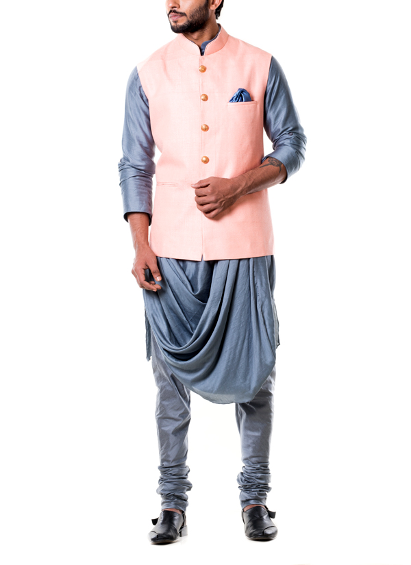 Anju Agarwal Pink Stitched Line Waist Coat Set Shop