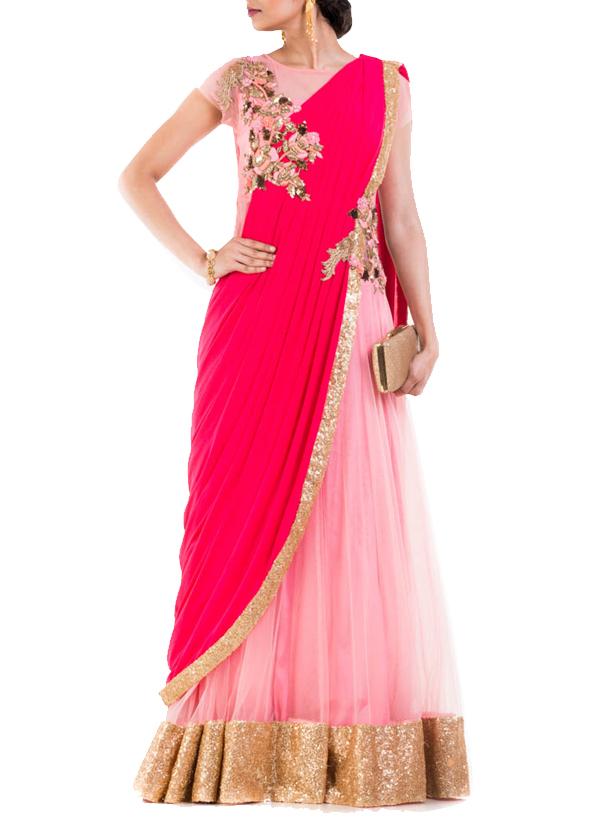Anju Agarwal Rani Pink Saree Gown Shop Sarees At