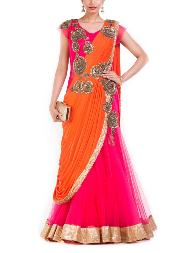 Anju Agarwal Watermelon Pink Fish Cut Saree Gown Shop