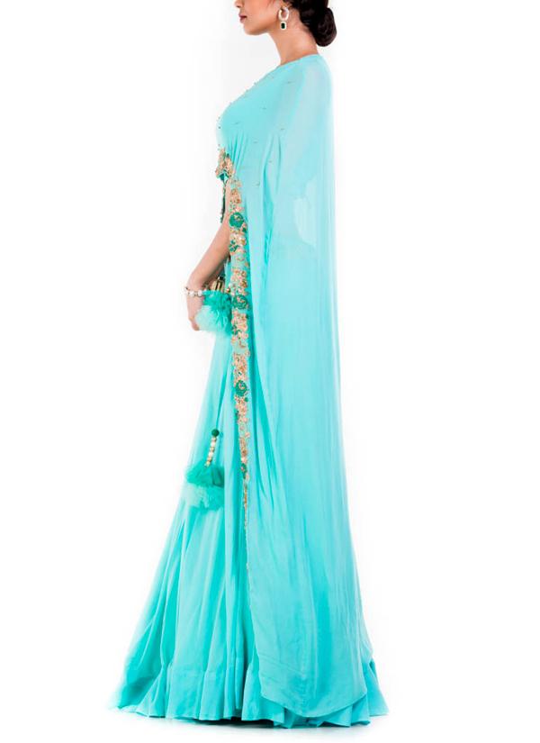 Anju Agarwal Sky Blue Cape Lehenga Set Shop Lehengas