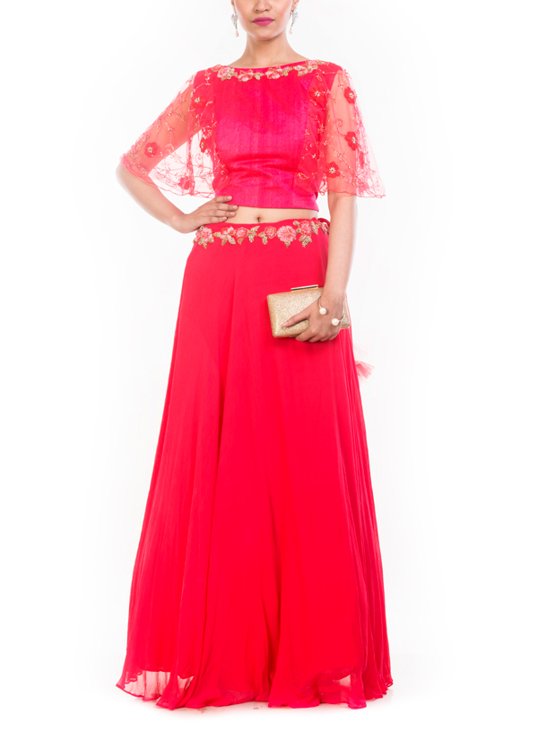 91a19f876f094 Indian Fashion Designers - Anju Agarwal - Contemporary Indian Designer -  Tomato Red Raw Silk Croptop