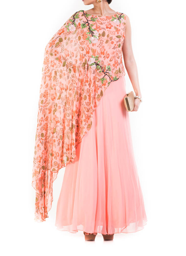Anju Agarwal Blush Pink Printed Cape Gown Shop Gowns