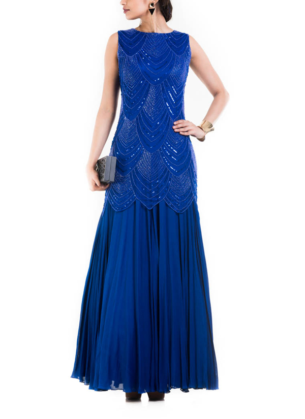 Anju Agarwal Royal Blue Sleeveless Long Gown Shop Gowns At