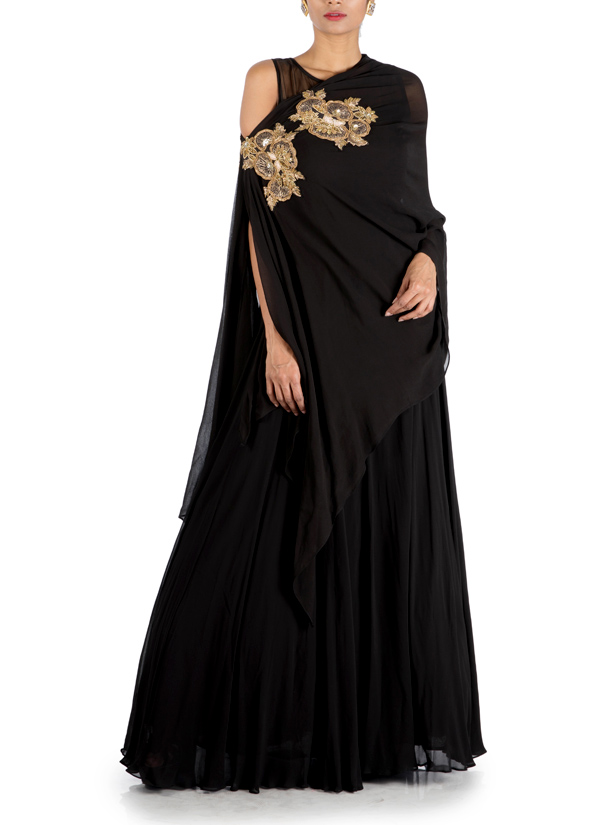 20a9e587d85 Indian Fashion Designers - Anju Agarwal - Contemporary Indian Designer -  Charcoal Black Side Cape Gown