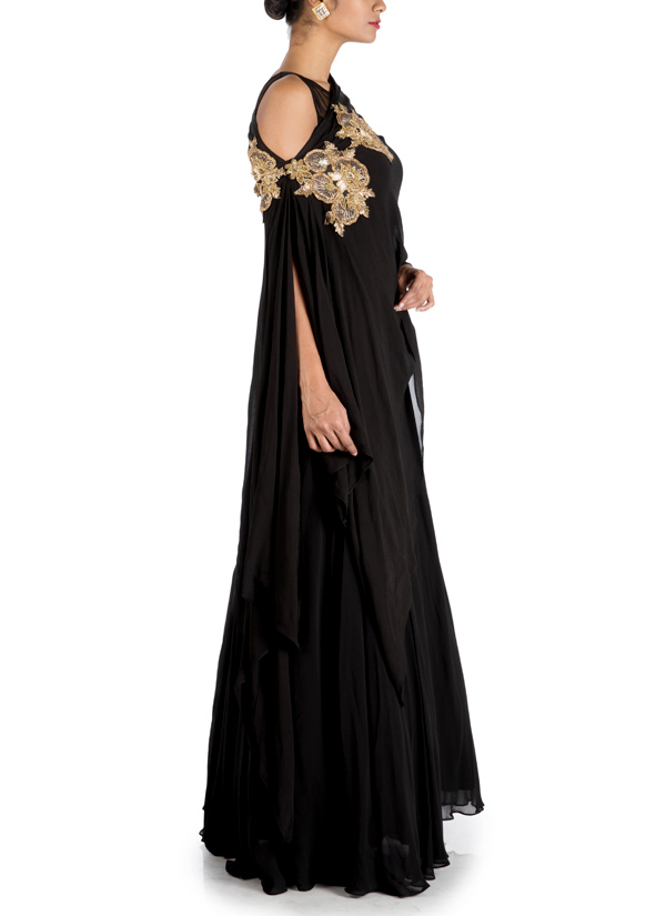 a0e8ce5ecc6 ... Indian Fashion Designers - Anju Agarwal - Contemporary Indian Designer  - Charcoal Black Side Cape Gown ...