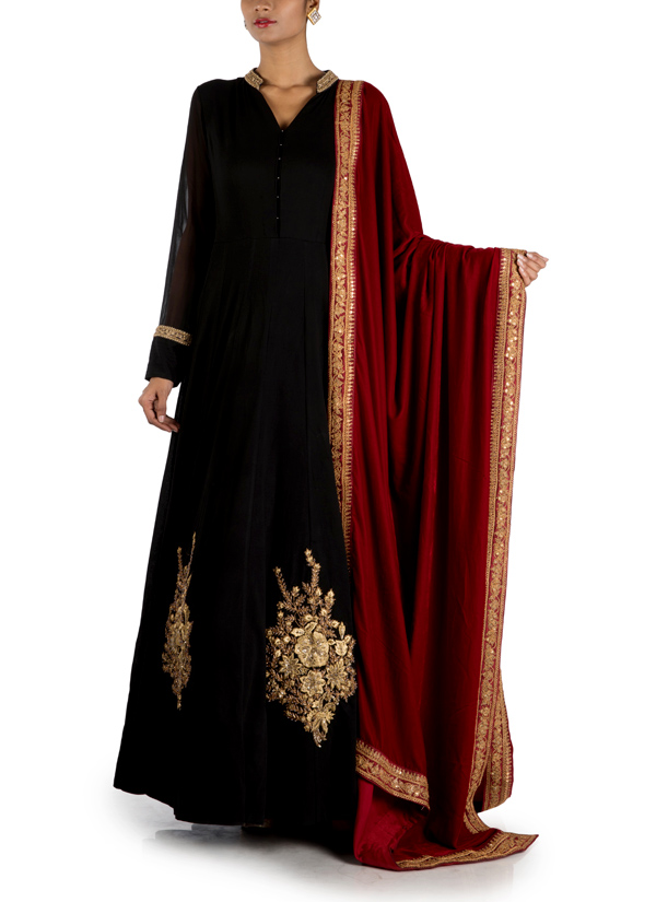 8d2b843913e Indian Fashion Designers - Anju Agarwal - Contemporary Indian Designer -  Jet Black Long Flare Kali